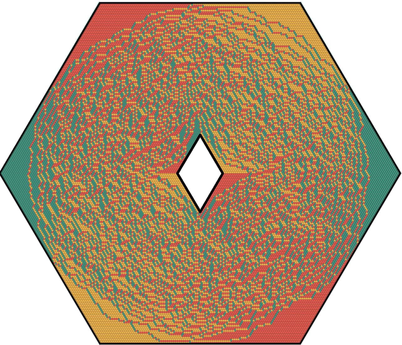 Uniformly random tiling of a hexagon with a hole