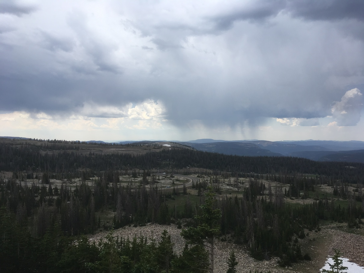 Clouds and rain over the Uinta Range
